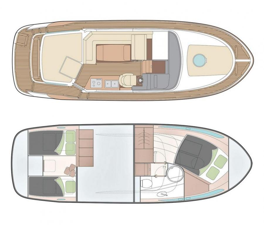 Layout Boarncruiser 320 Aft Cabin Cruiser