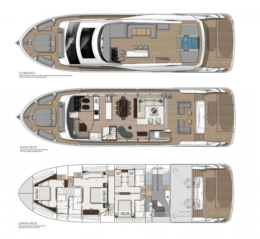 Layout Sunseeker Ocean Club Ninety Yacht